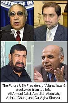 clockwise from top left - Ali Ahmad Jalali, Abdullah Abdullah, Ashraf Ghani, and Gul Agha Sherzai.