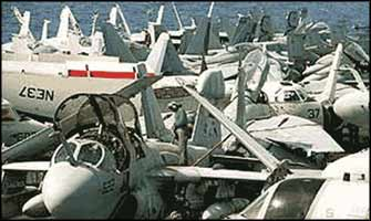 Air-craft carriers 'on exercise' in the Gulf.