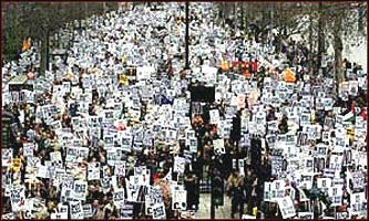 They came from all corners of the country, a million and a half people, three times the size of any other UK demonstration, all against war in Iraq.