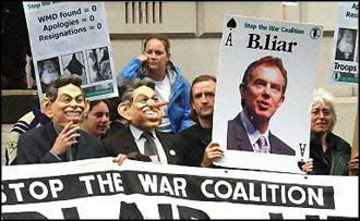 Anti-war protestors gather in London as Lord Butler delivered his whitewash report on the UK government?s pre-Iraq war propaganda campaign.