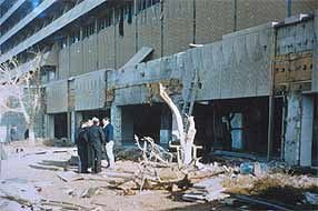 Al-Rashid hotel damage from before the latest attack from Iraqi resisters - this time from USA cruise missiles during the war.