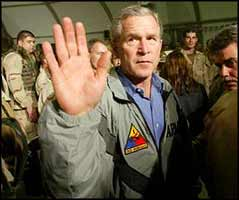 Mr. President, how many minutes will you be staying in Iraq?