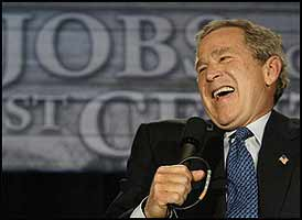 It must be hard for George Bush to keep a straight face when telling the people that he's there to represent them.