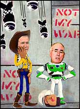 John Howard is playing with the big boys now, but does he realise that he?s the toy? Image courtesy of Daviesart.com