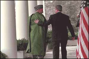 George W Bush and Hamid Karzai