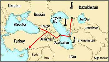 Georgia forms a land-bridge between the Caspian and Black Seas, and occupies much of the land designated for the proposed main oil pipeline from the Caspian region.