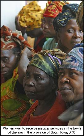 Women wait to receive medical services in Panzi Hospital in the town of Bukavu in the province of South Kivu.