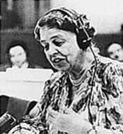 Eleanor Roosevelt speaking at the United Nations