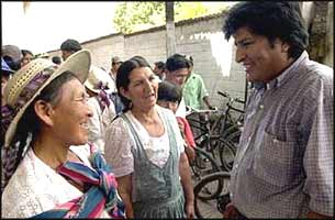 Leader of the Bolivian 'Movement Towards Socialism', Evo Morales led the rebellion in Bolivia, but declined to take over power himself.
