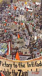 London, May 2003. Some of the several hundreds of thousands who demonstrated in support of self-determination in Palestine this summer.