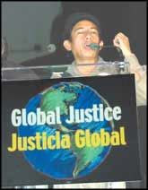 Oscar Olivera, from the Cochabamba Federation of Factory Workers and the Coalition in Defence of Water and Life, speaking last week at the People's Gala for Global Justice, Miami.