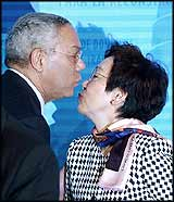 USA Secretary of State had good reason to be emotional with Japan?s Foreign Minister Kawaguchi at the donors? meeting ? Japan was the only country to provide a substantial sum for the USA?s ?reconstruction? project.