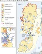 Click here for a larger version map of the effects that the 'apartheid barrier' will have on Palestinian lands.