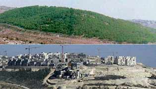 Before and After: Jabal Abu Ghneim in 1997 and in 2001 with the beginnings of a new armed Israeli settlement.