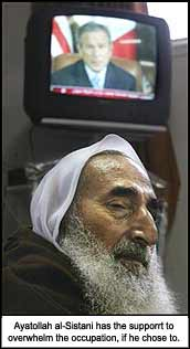 Ayatollah al-Sistani has enough support to overwhelm the USA, if he chose to.