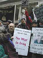 Charley Richardson and Nancy Lessin, members of ?Military Families Speak Out?, vote with their feet at an anti-war rally in New York.