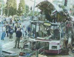 The remains of a Palestinian bus-bombing in Haifa, December 2001, which killed fifteen Israelis and injured a further thirty-eight.